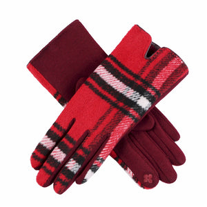 Red, Black, White Tartan Plaid Touchscreen Gloves