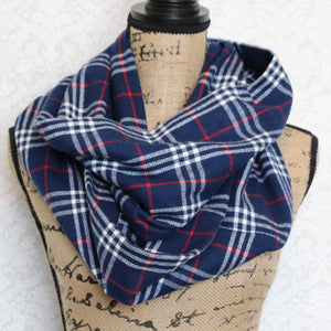 Blue, Red, and White Warm Flannel Plaid Infinity or Blanket Scarf
