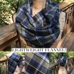 Outlander Gunmetal Grey Navy Blue and White Lightweight Flannel Plaid Infinity Tartan Scarf