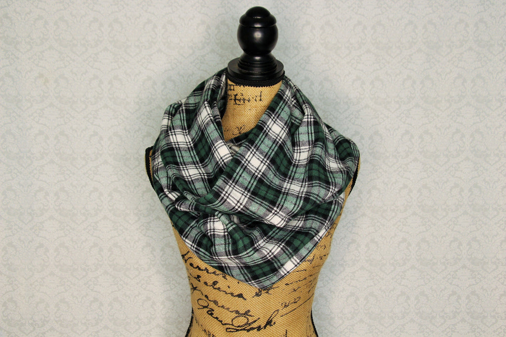 Forest Green, White, and Black Cozy Flannel Plaid Infinity Scarf Classic Tartan Wrap