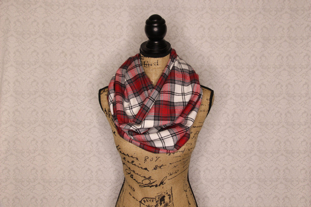 Lightweight Flannel Classic Red, White, Black, and Grey Plaid Infinity Scarf Tartan Wrap Traditional