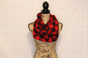 Classic Buffalo Plaid Red and Black Checked Lumberjack Flannel Plaid Infinity Scarf Lightweight Tartan Wrap