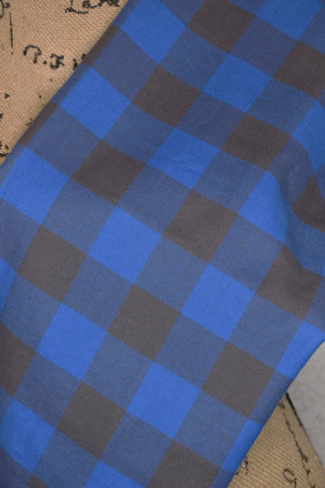 Blue and Gunmetal Grey Classic Buffalo Lumberjack Plaid Infinity or Straight Scarf