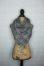 Prince of Wales Tartan Grey, Black, and White Cozy Flannel Fringed Blanket Scarf