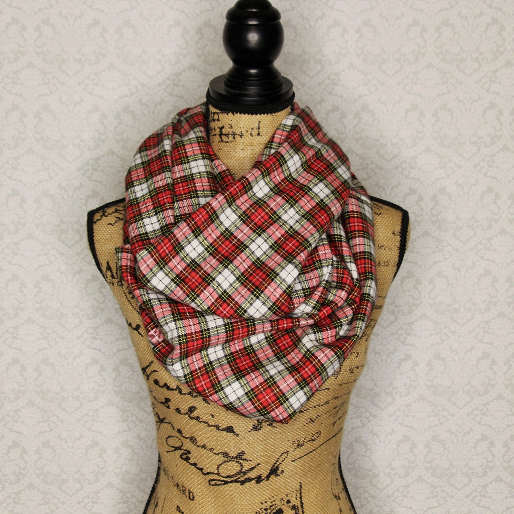 Red, Black, White, and Yellow Flannel Plaid Infinity Scarf Lightweight