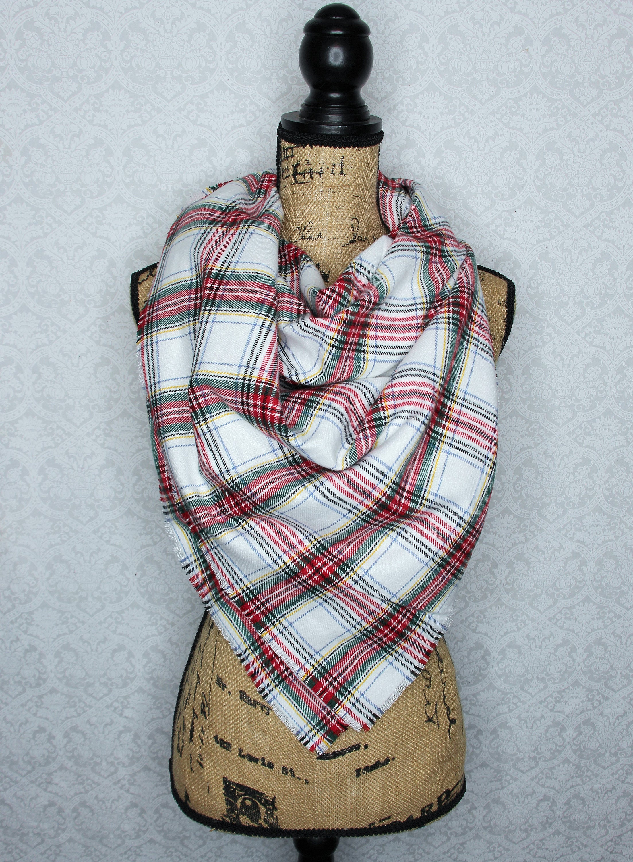 Dress Stewart Tartan White, Red, Green, Blue, and Yellow Flannel Plaid Infinity Scarf Christmas Tartan Wrap
