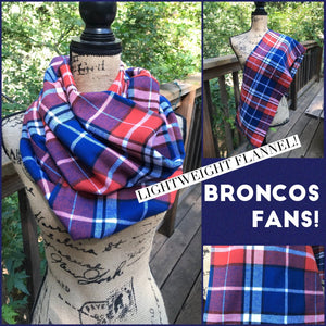 Blue and Orange Lightweight Flannel Plaid Infinity or Blanket Scarf Broncos Colors