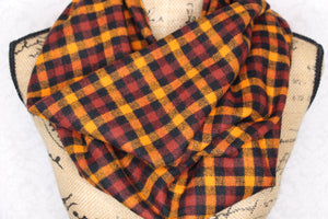 Burnt Orange, Burgundy, Black Small Check Plaid Flannel Infinity Scarf Thick 100% Cotton Tartan Fall Halloween