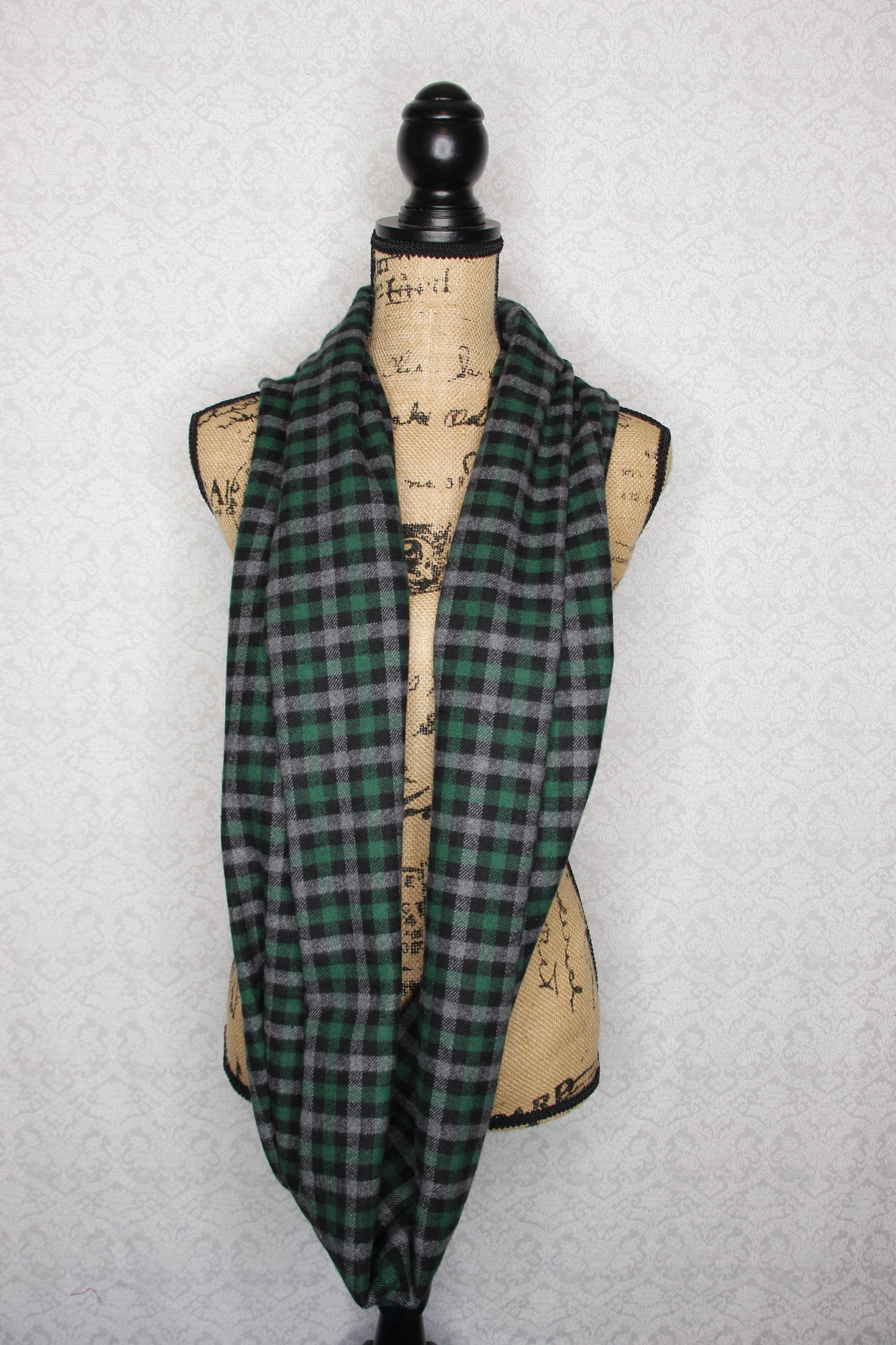 Forest Hunter Green, Gray, and Black Small Check Plaid Flannel Infinity Scarf Thick 100% Cotton Tartan