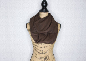 Brown and Black Herringbone Heavyweight Flannel Infinity or Blanket Scarf