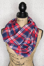 Cherry Red, White, Dark Blue, and Periwinkle Purple Medium weight Flannel Plaid Infinity Scarf