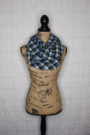 Blue, Forest Green, Navy Blue, and White Heavyweight Flannel Plaid Infinity or Blanket Scarf