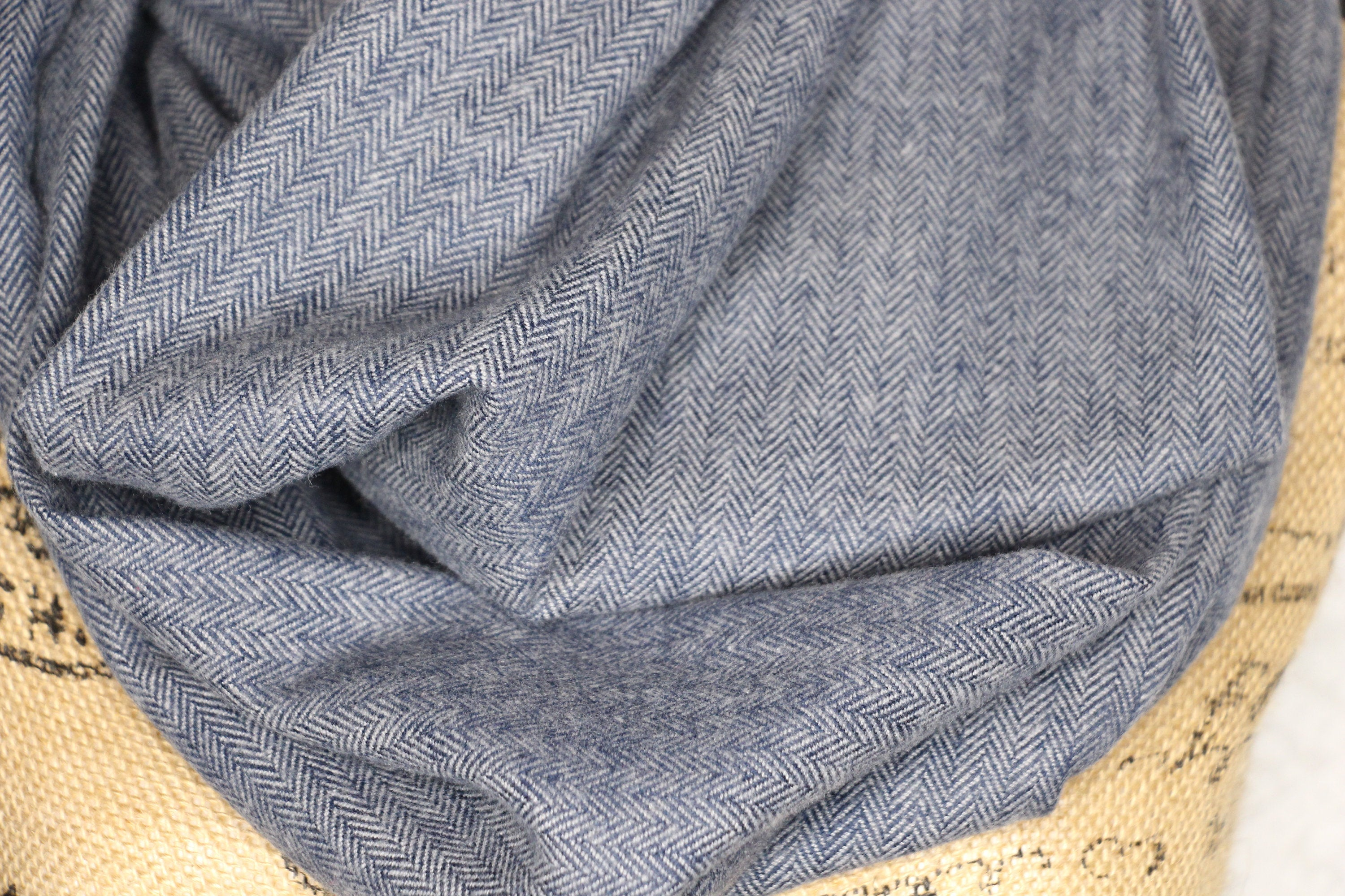 Navy Blue and Gray Small Herringbone Cotton Flannel Plaid Infinity Scarf Wrap Cowl Gator