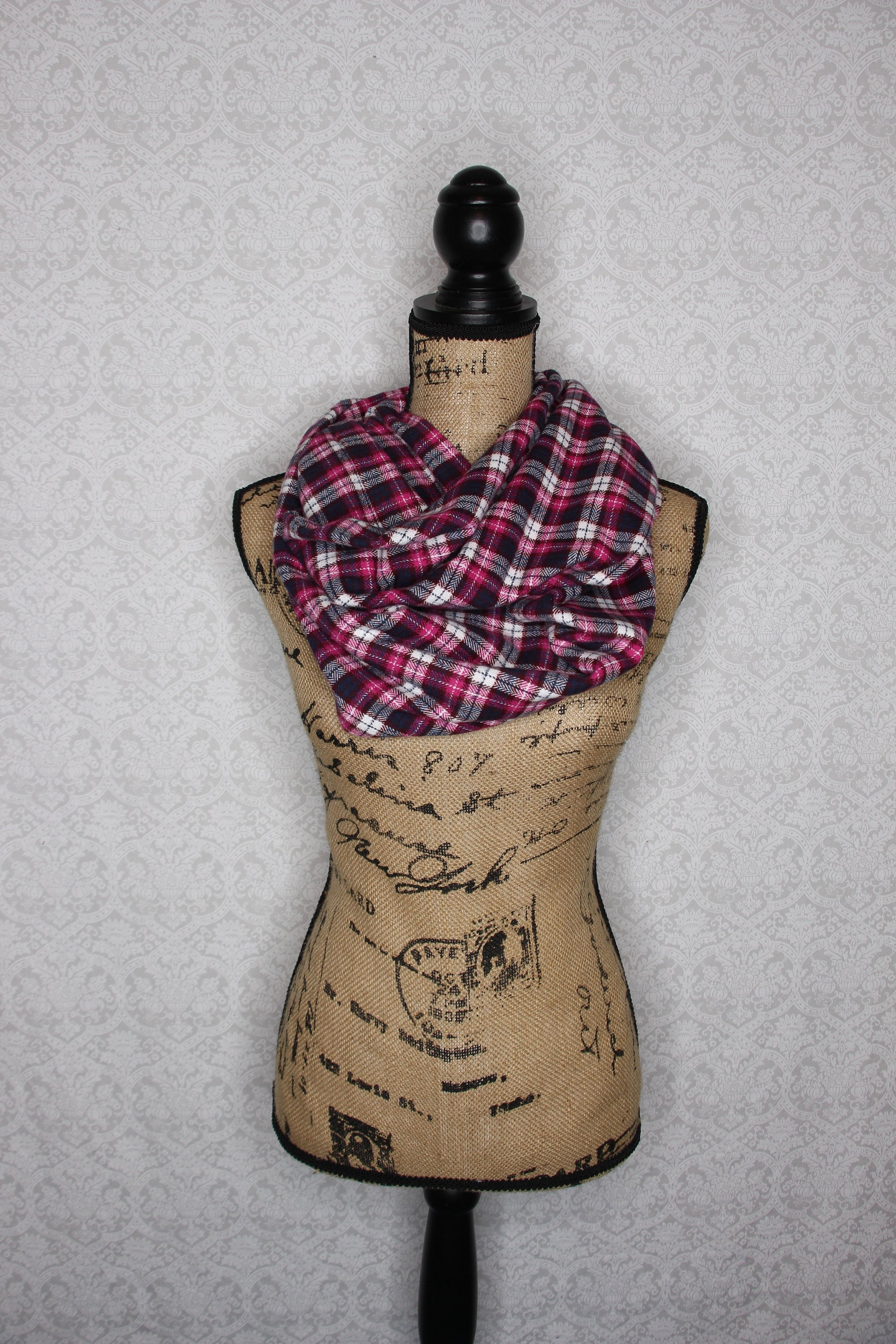 Pink, Purple, Navy Blue, and White Cotton Flannel Plaid Infinity Scarf Chunky Cowl Gator Wrap