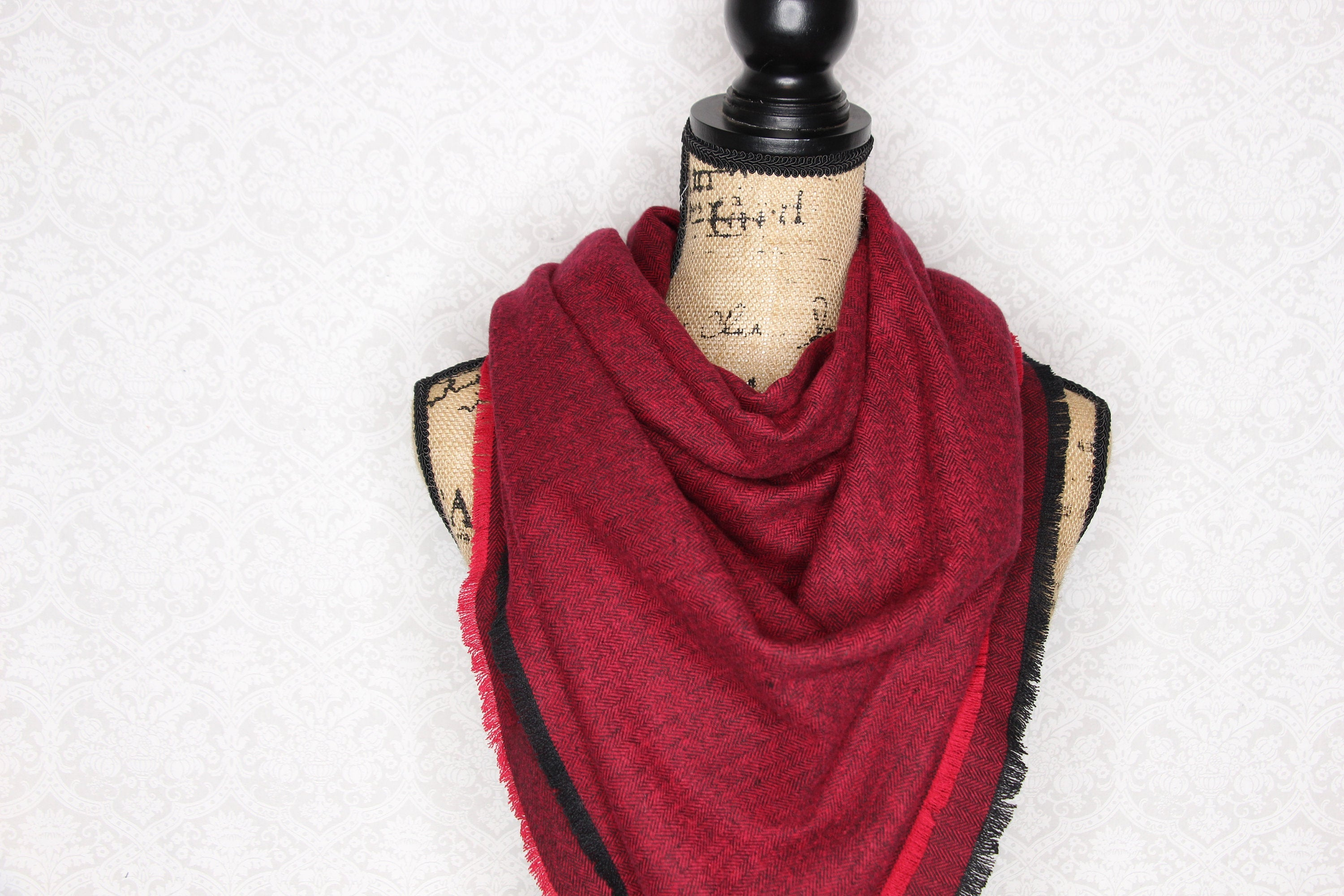 Red and Black Herringbone Flannel Blanket Scarf Fringe Cowl Fray Shawl Poncho