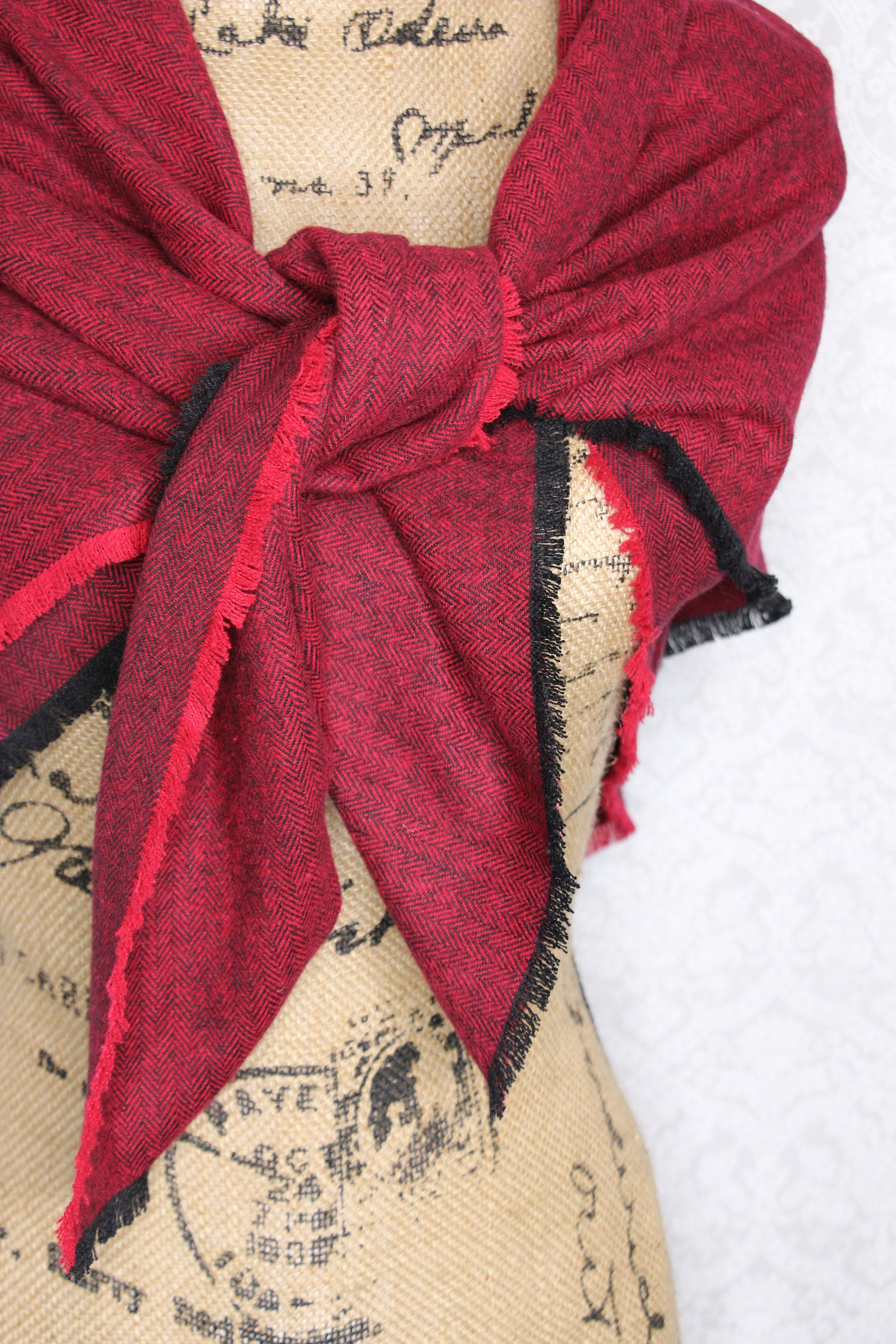 Red and Black Herringbone Flannel Blanket Scarf Fringe Cowl Fray Shawl