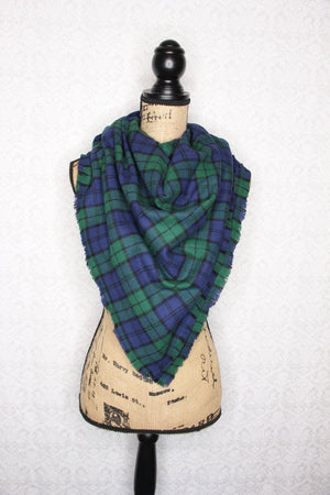 Black Watch - Clan Campbell Hunter Green, Royal Purple/Navy Blue and Black Flannel Plaid Infinity Scarf Tartan Wrap Shawl Chunky Cowl Scottish Sash
