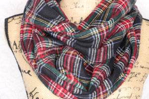 Black Stewart Tartan Medium Weight Flannel Plaid Infinity or Blanket Scarf