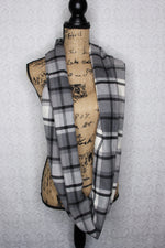 Gray, Black and White Plaid Flannel Infinity Scarf Classic Tartan Thick 100% Cotton Soft and Cozy