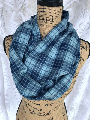 Dusty Light Blue and Dark Blue Two-Tone Lightweight Flannel Plaid Infinity or Blanket Scarf Tartan Wrap 100% Cotton Shawl Cowl