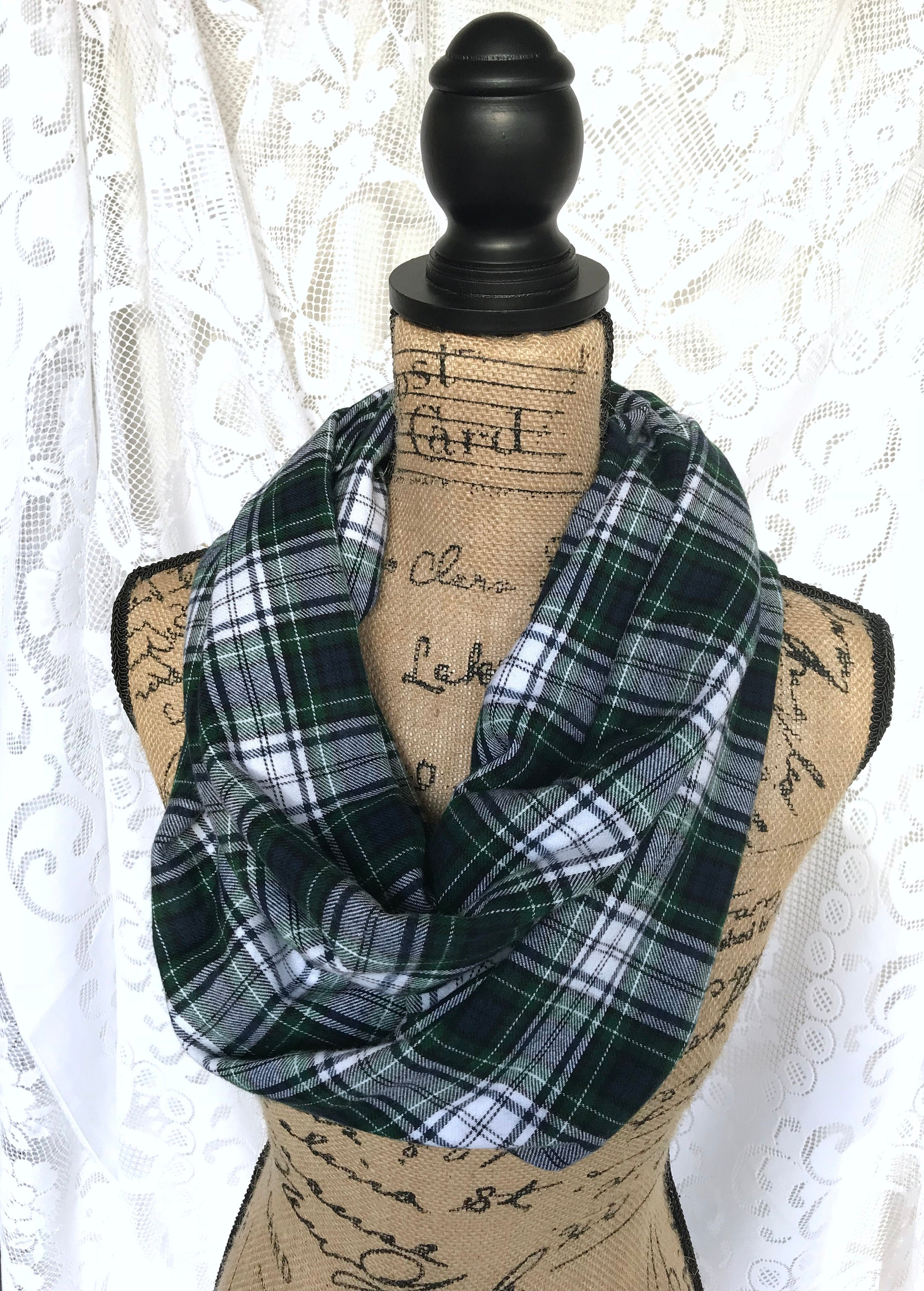 Modern Dress Black Watch Tartan in Forest Green, Navy Blue, and White Flannel Plaid Infinity or Blanket Scarf Classic Tartan Wrap Shawl Cowl