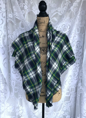 Dress Gordon Tartan Navy Blue, Green, White, and Yellow Lightweight Flannel Plaid Infinity or Blanket Scarf