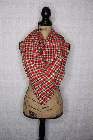 Red, Olive Green, Cream/Ivory Lightweight Flannel Plaid Infinity Scarf Vintage Christmas Tartan Wrap Cowl