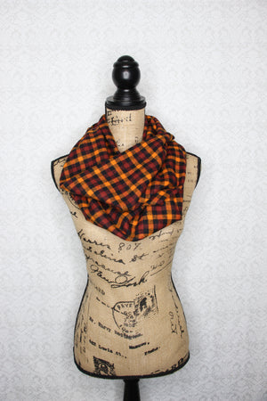 Purple, Black, Gray Small Check Flannel Plaid Infinity Scarf Gingham Buffalo Cowl Wrap Gator