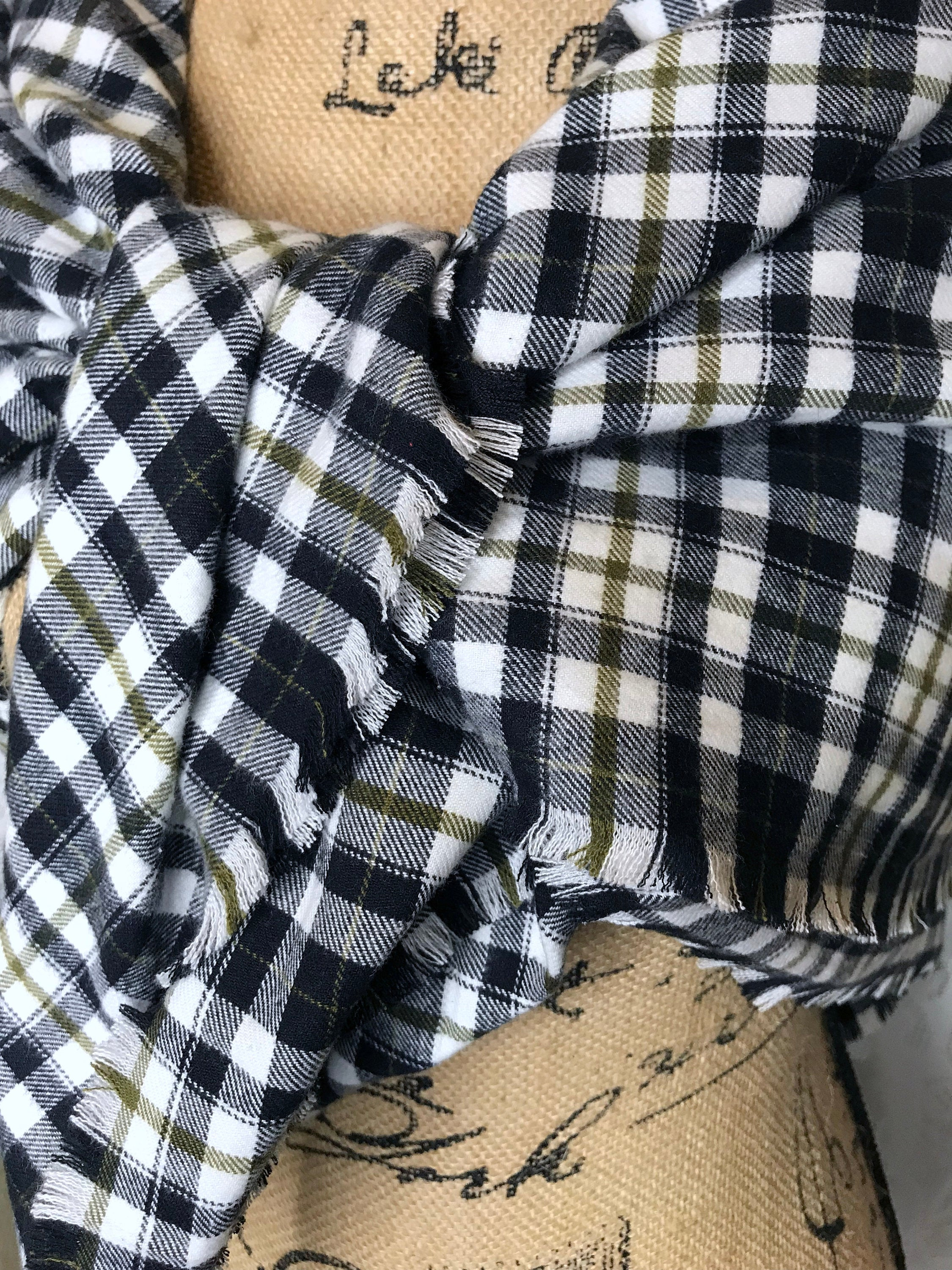 White, Black and Tan Lightweight Flannel Plaid Blanket Scarf