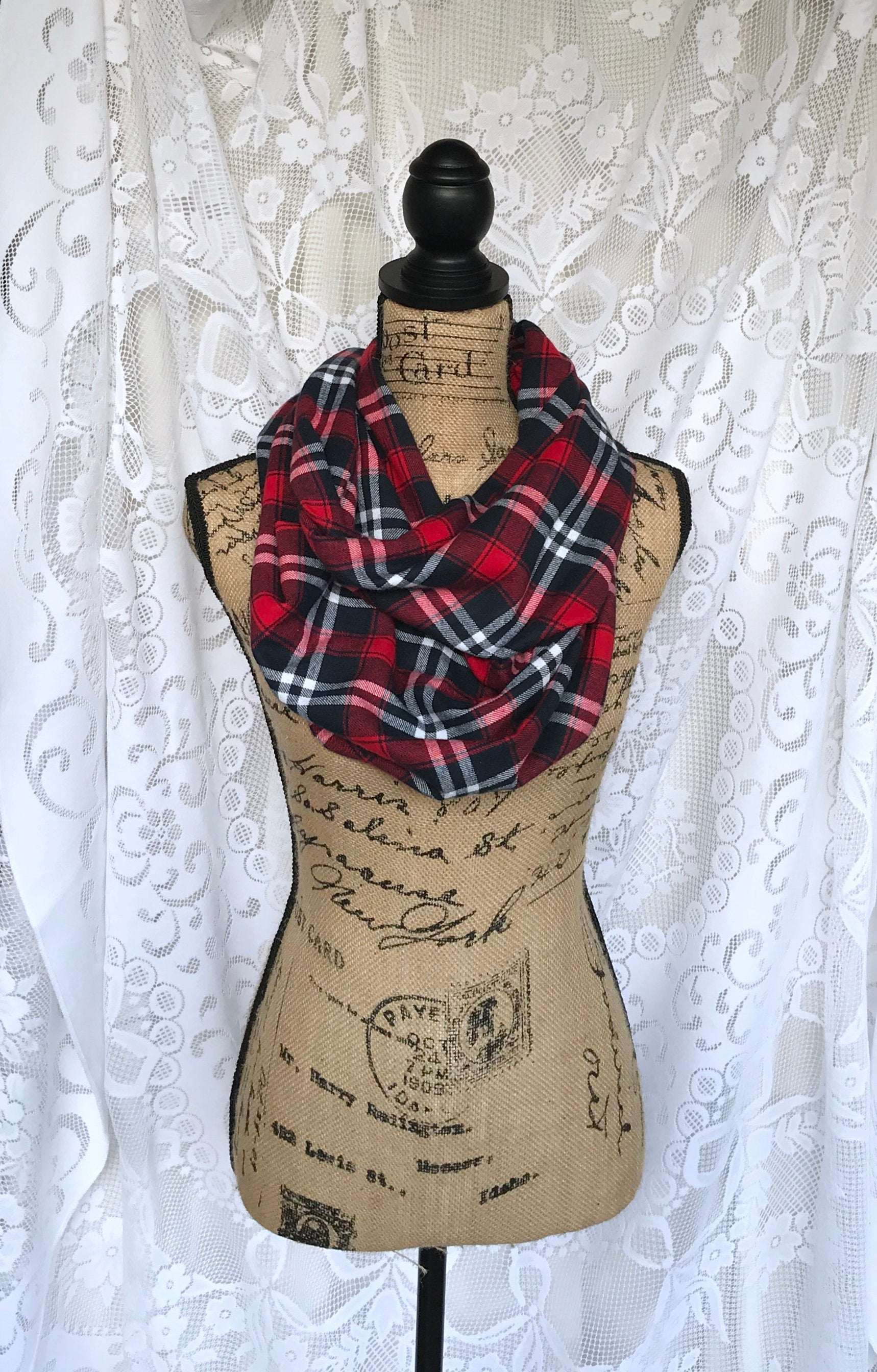Dark Navy Blue, Red, and White Lightweight Flannel Plaid Infinity and Blanket Scarves Tartan Wrap Chunky Cowl