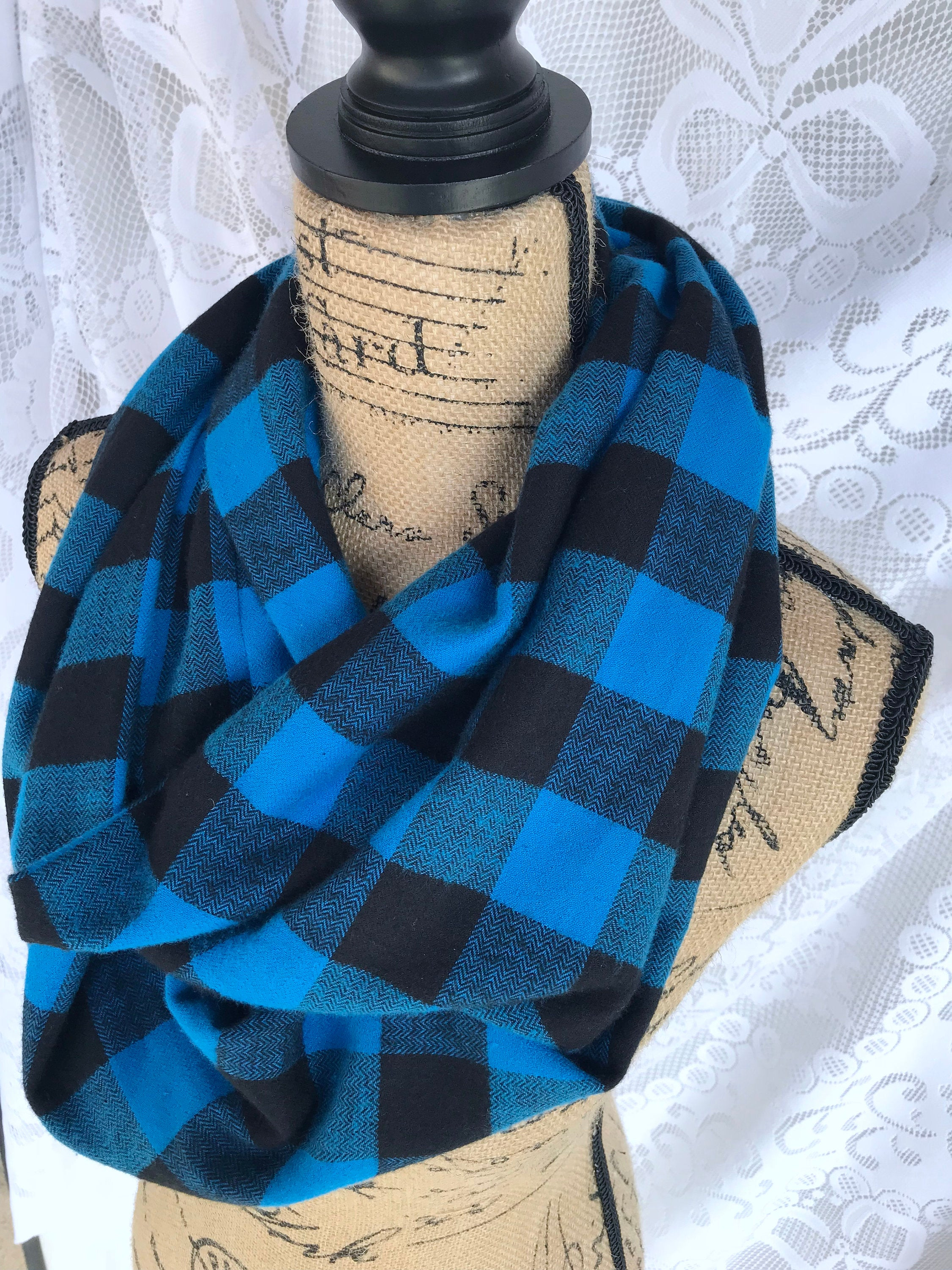 Blue and Black Buffalo Plaid Lightweight Flannel Plaid Infinity or Blanket Scarf