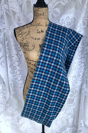 Navy Blue and Light Blue Flannel Plaid Infinity or Blanket Scarf Small Check Plaid Tartan Cowl Wrap