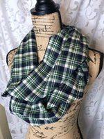 Deep Lime Green, Navy Blue and White/Ivory Lightweight Flannel Plaid Infinity Scarf Tartan Wrap Light Forest/Hunter Green
