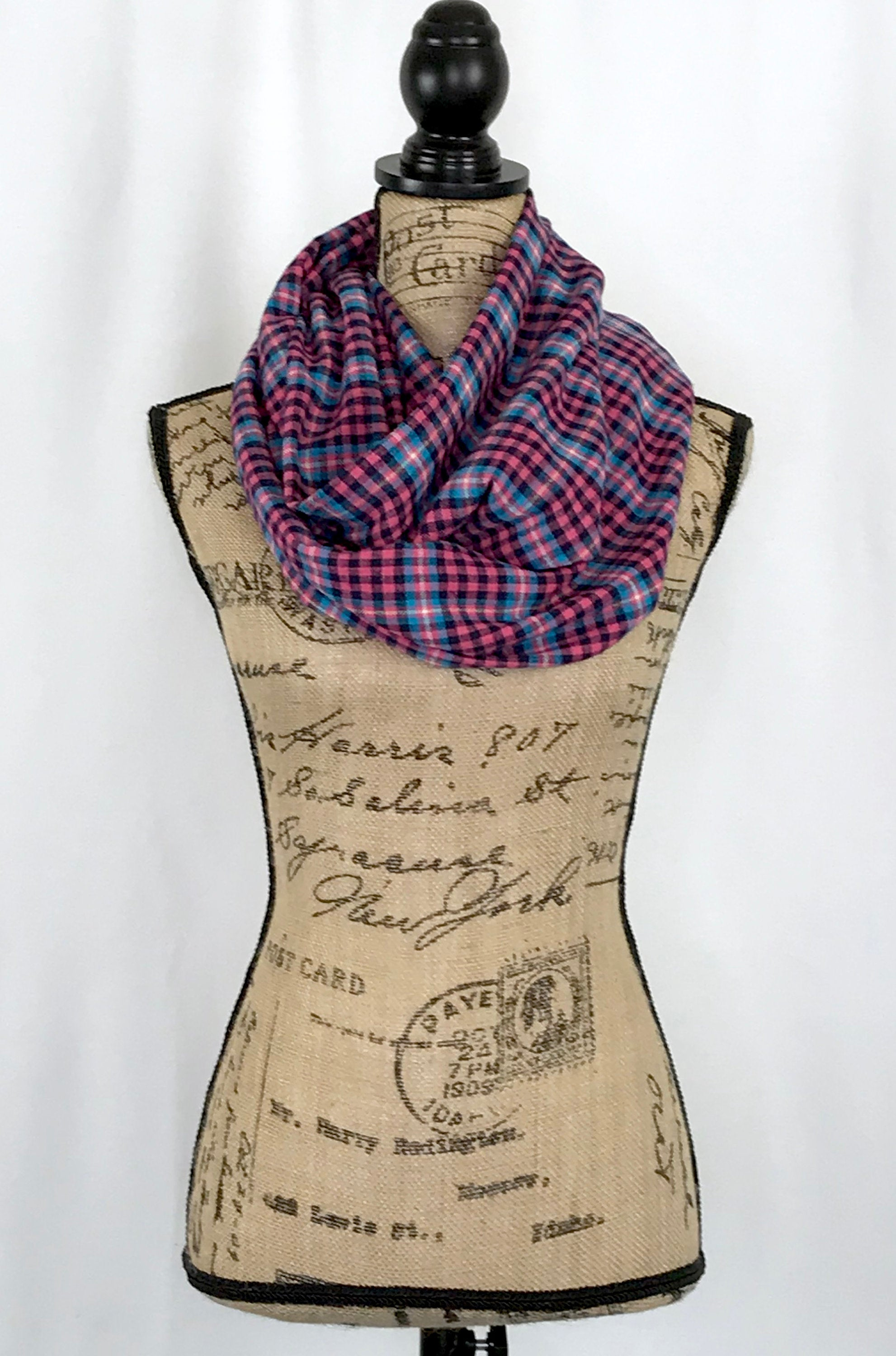 Pink, Light Blue, Black, White, and Yellow Lightweight Flannel Plaid Infinity Scarf Tartan Wrap Scottish Sash