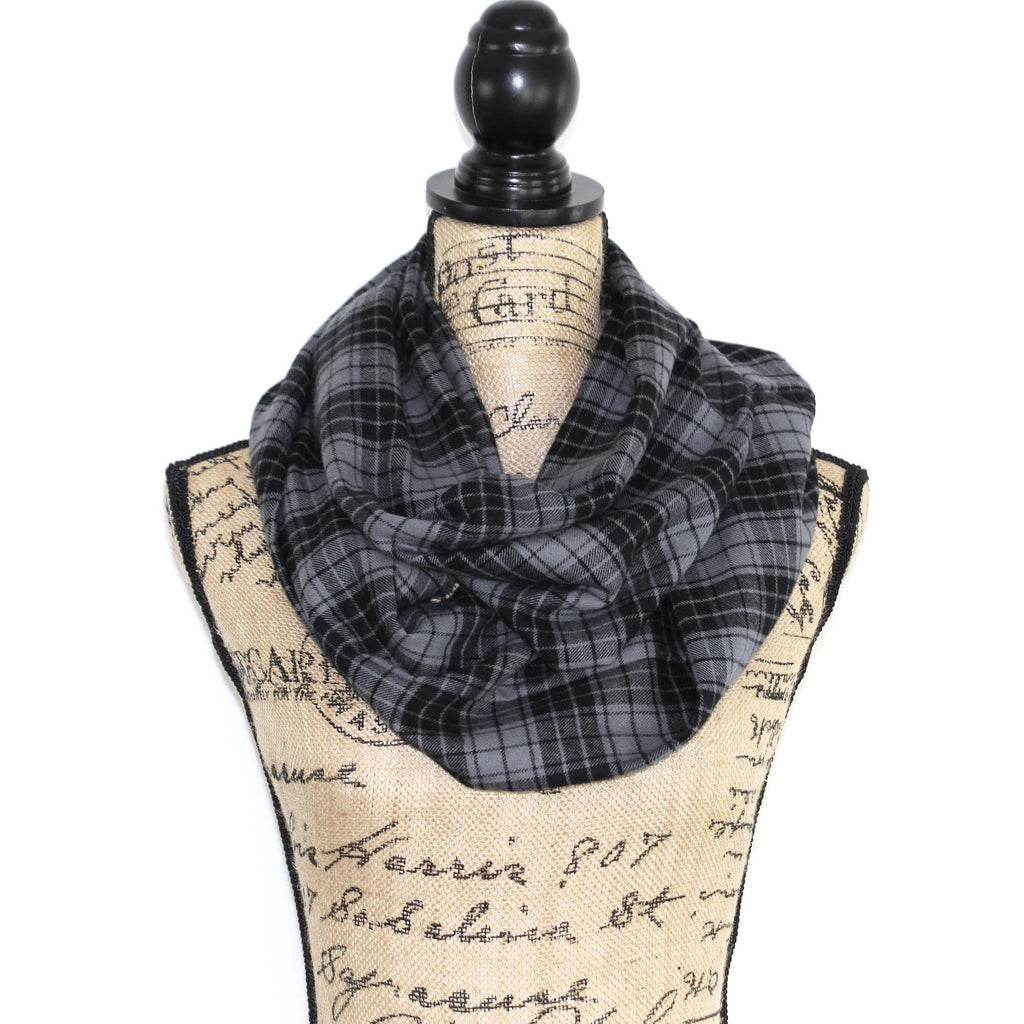 Night Watch Tartan Black and Gunmetal Gray Lightweight Flannel Plaid Infinity Scarf