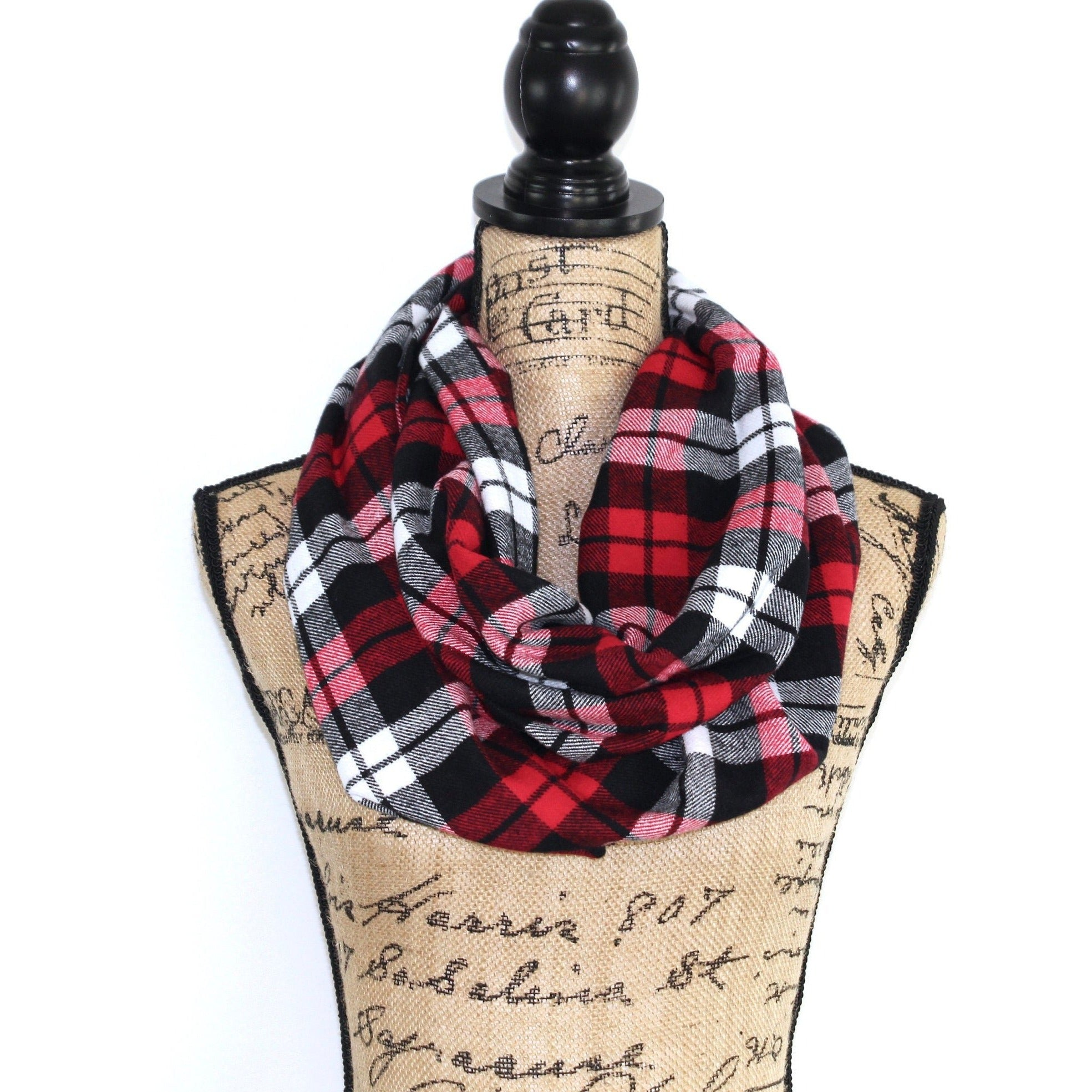 Classic Red, White, Grey and Black Flannel Plaid Infinity Scarf Scottish Tartan Wrap