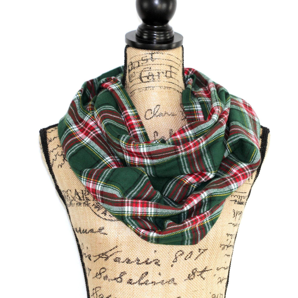 Green, Red, White, Black, and Yellow Christmas Plaid Flannel Infinity Scarf Tartan Wrap