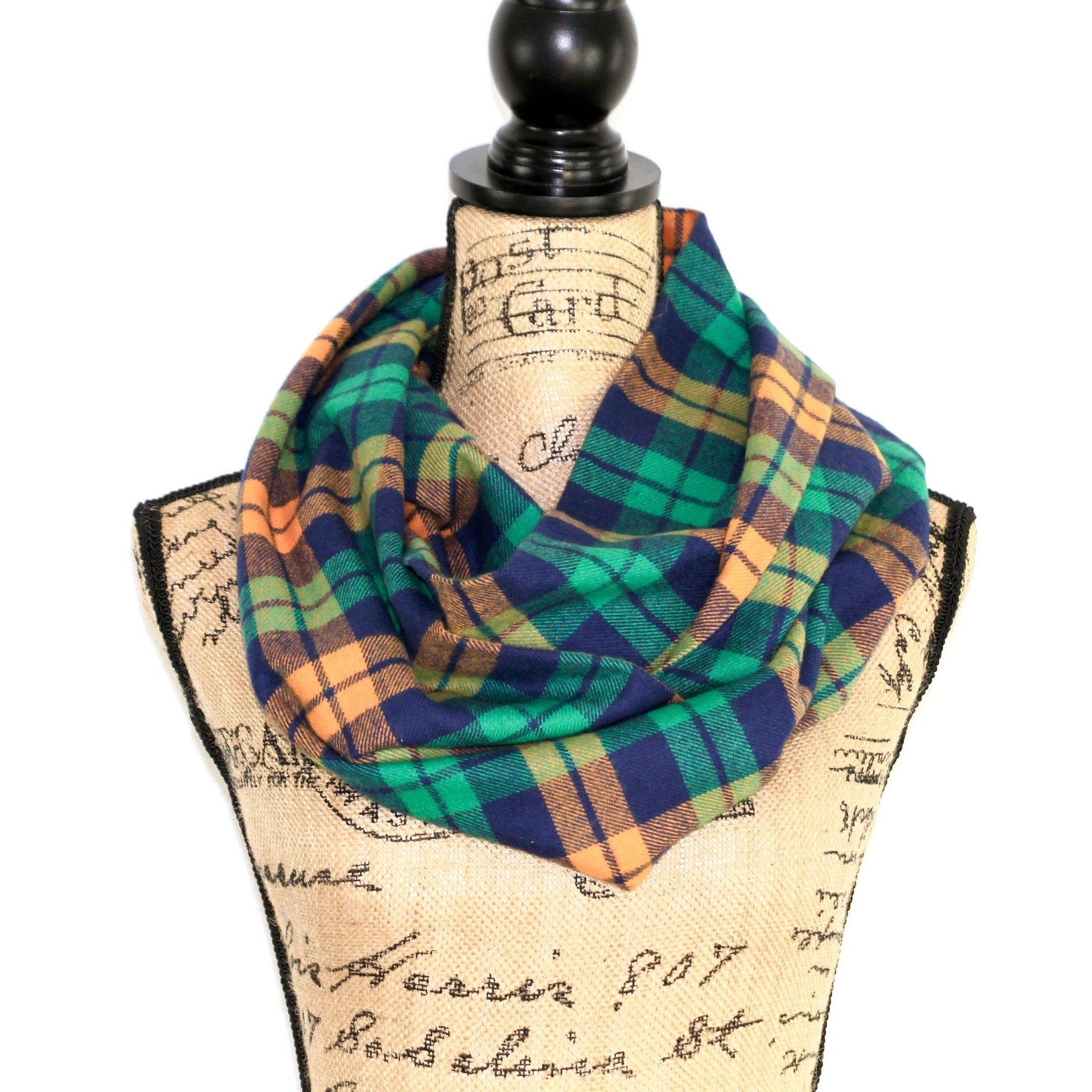 Key Lime Green, Blue, and Cantaloupe Orange Cotton Flannel Plaid Infinity Scarf Classic Tartan Wrap Gator Chunky Cowl