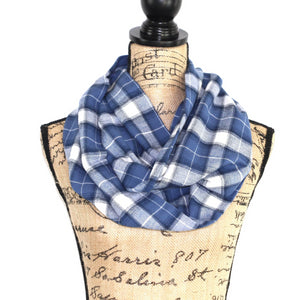 Cornflower Blue and White Lightweight Flannel Plaid Infinity or Blanket Scarf