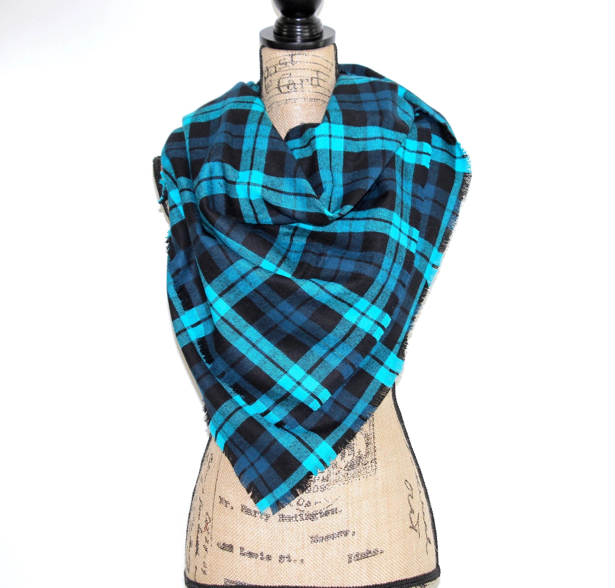 Bright Blue, Navy Blue, Deep Teal, Black Heavyweight Flannel Plaid Infinity or Blanket Scarf