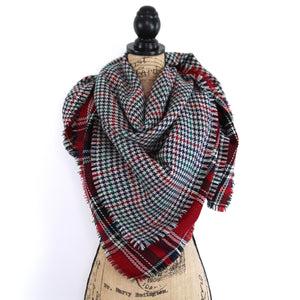 Reversible Red, Black, Gray, White Herringbone and Plaid Blanket Scarf