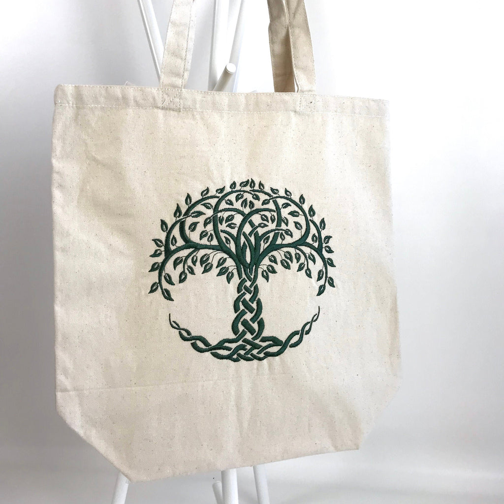 Celtic Knot Tree of Life Embroidered Heavy Canvas Tote Bag Gusseted Grocery Sack Outlander