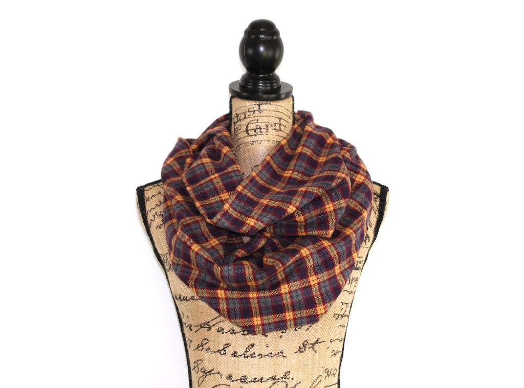 Scarlet and Gold, Gunmetal Grey, Burgundy and Sunflower Yellow Flannel Plaid Infinity Scarf Tartan Wrap Harry Potter Gryffindor
