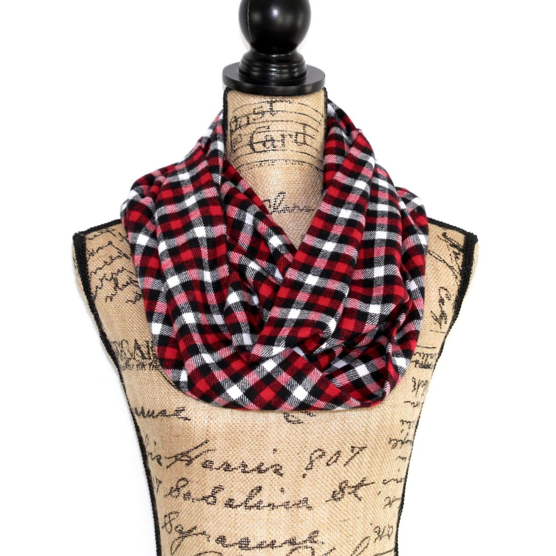Red, White, Black, and Gray Small Check Plaid Flannel Infinity Scarf Tartan Wrap Buffalo Gingham Shawl