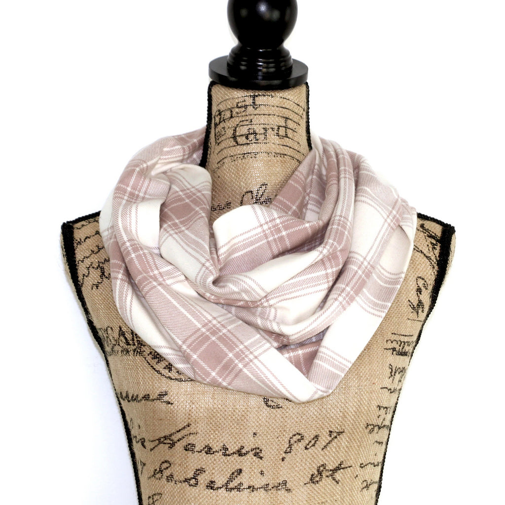 Dusty Rose and Ivory Heavyweight Flannel Plaid Infinity Scarf