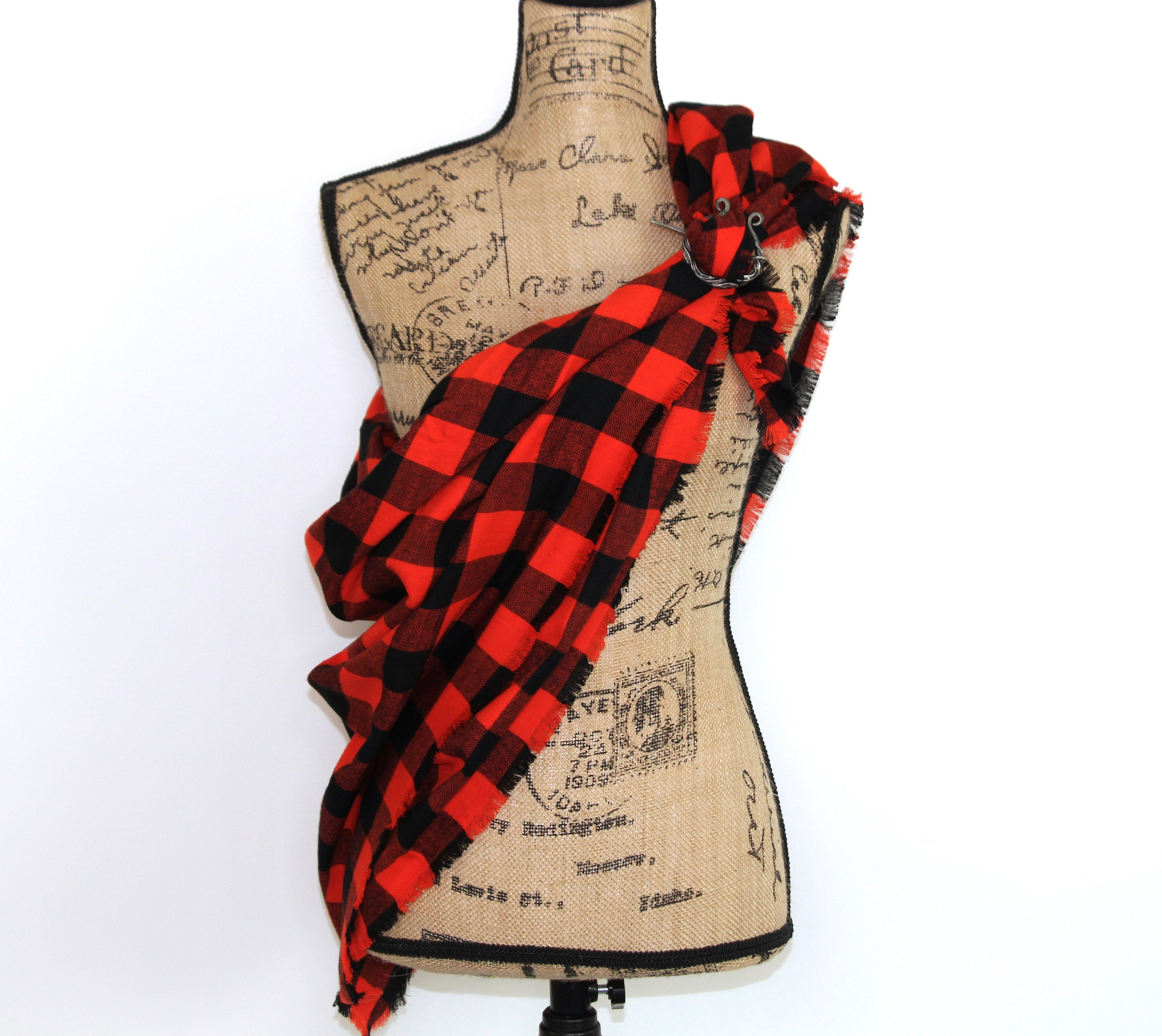 Orange and Black Lightweight Flannel Plaid Infinity or Blanket Scarf Giants Baseball Game Classic Buffalo Lumberjack Check Tartan Wrap