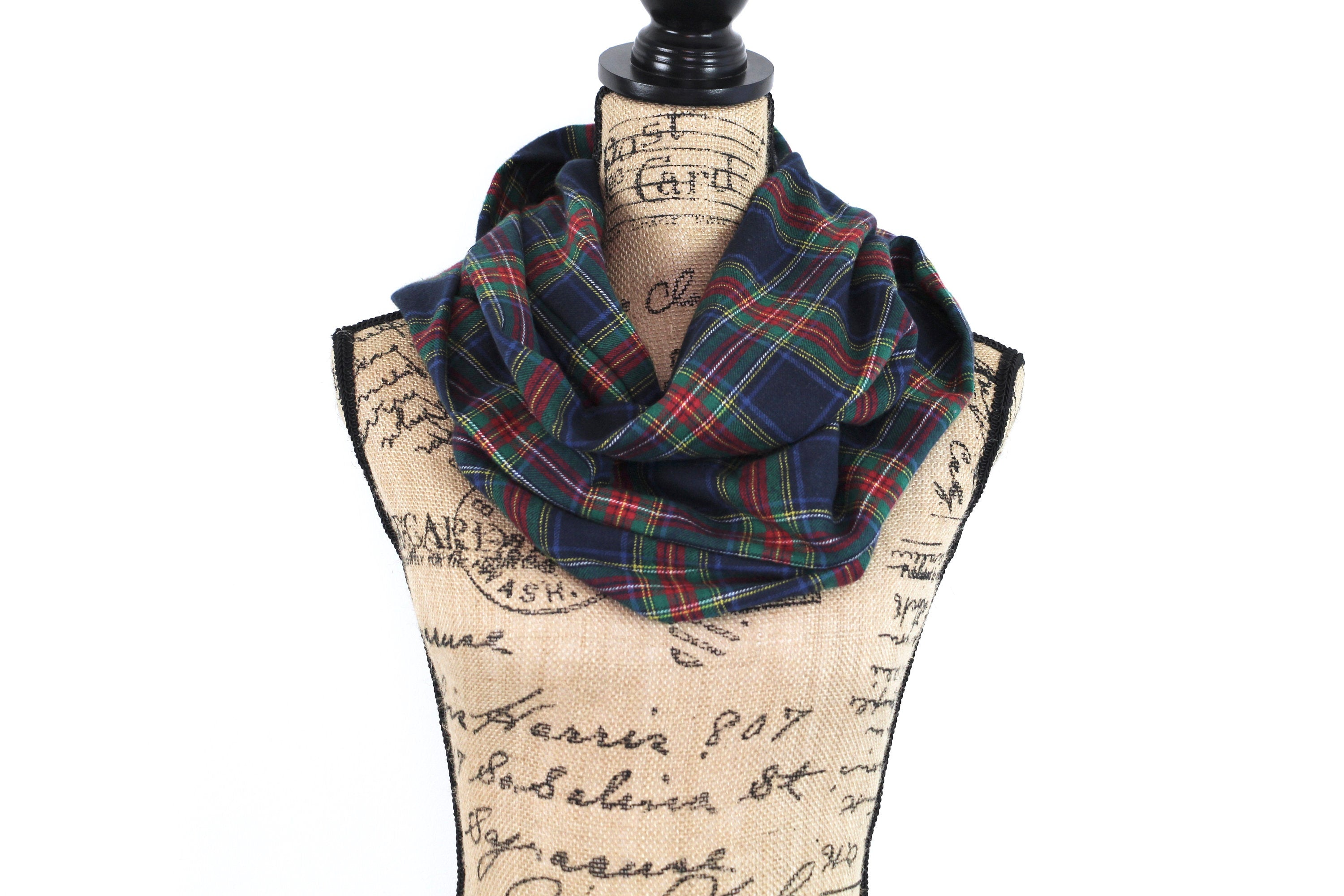 Stewart Tartan in Navy Blue, Red, Green, and Yellow Lightweight Flannel Plaid Infinity or Blanket Scarf