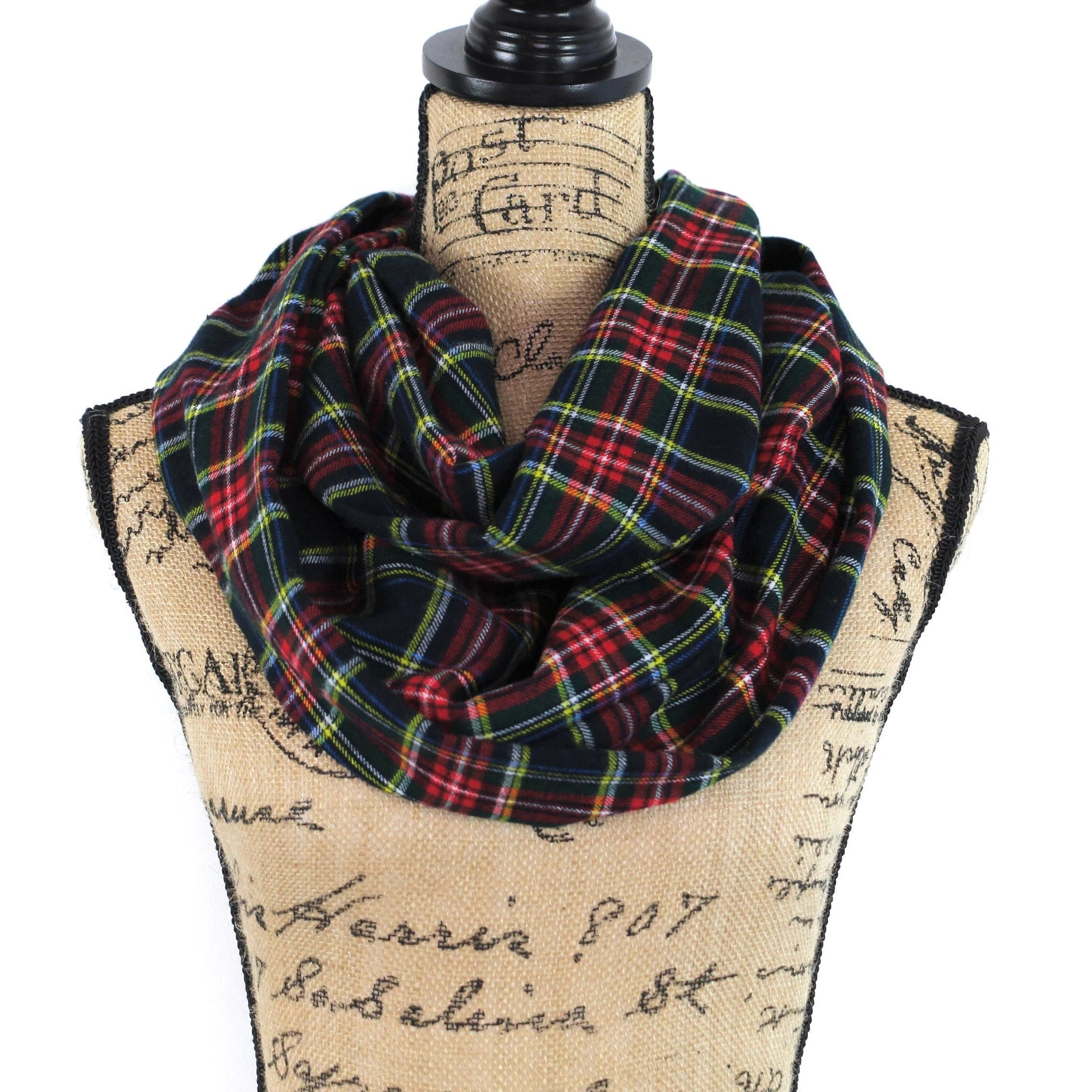 Black Stewart Tartan Lightweight Flannel Plaid Infinity or Blanket Scarf