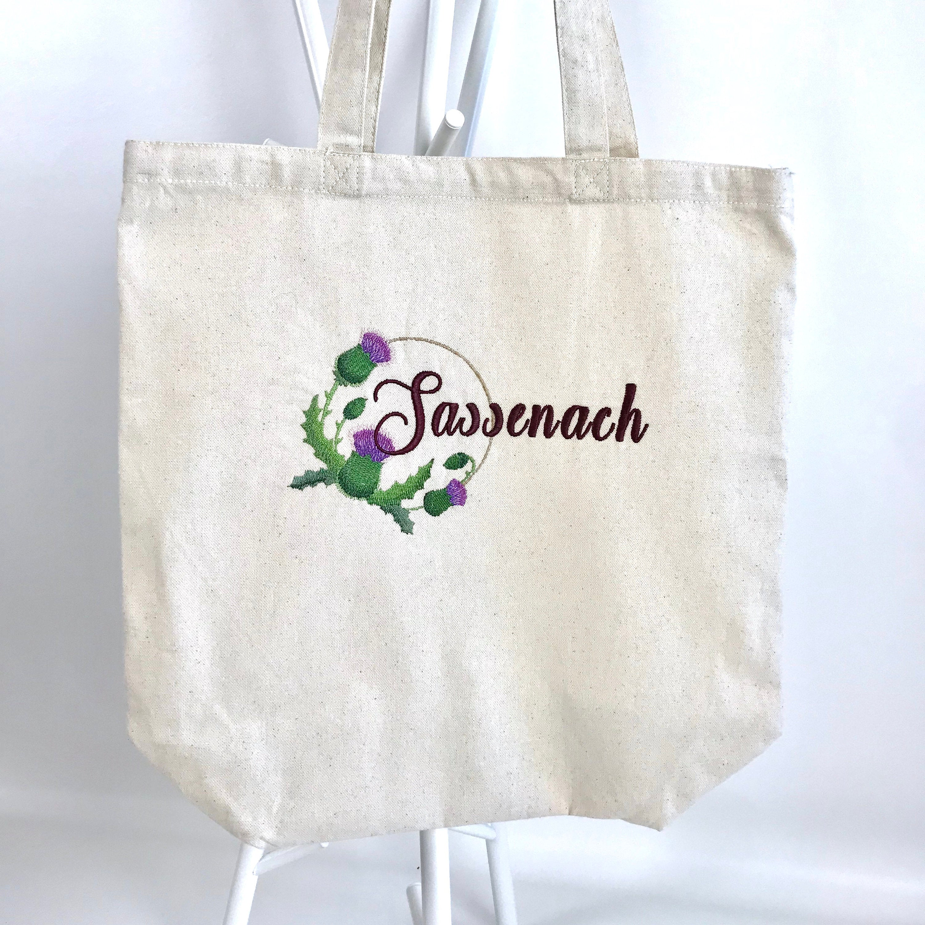 Outlander Sassenach Scottish Thistle Embroidered Heavy Canvas Tote Bag Gusseted Grocery Sack