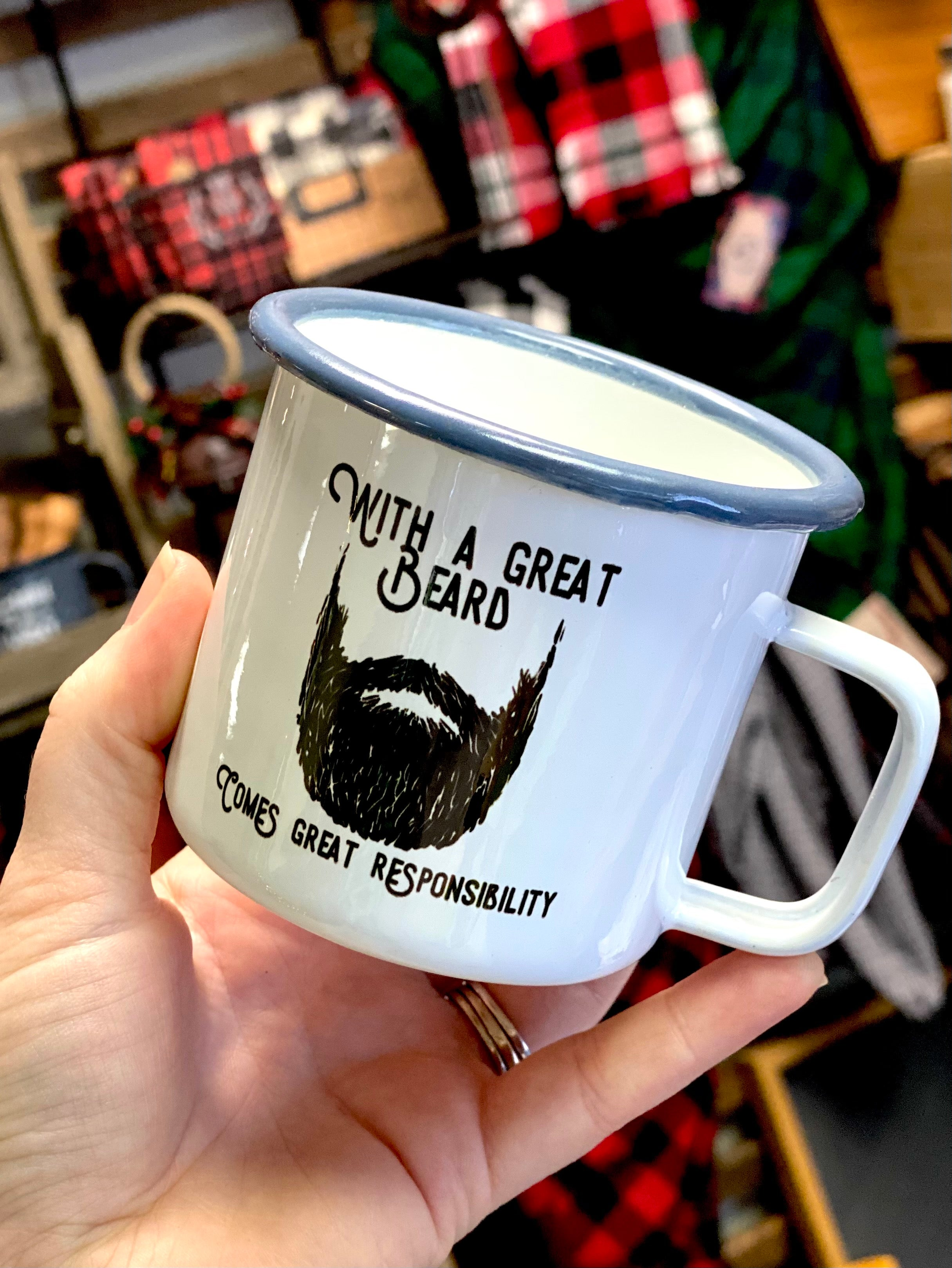 With a Great Beard Comes Great Responsibility Weathered Enamel Campfire Mug